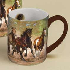 Horses in the Mist Taking Flight Coffee Mug 14oz - Do you know a person with a passion for horses? This LANG coffee mug by Chris Cummings is a perfect gift for him.