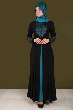 Çift Renk Pul Payetli Abiye PN32438 Siyah&Petrol - Thumbnail Abaya Fashion, Muslim Fashion, Fashion Wear, Hijab Style, Hijab Chic, Simple Long Dress, Hijab Dress Party, Modele Hijab, Abaya Designs