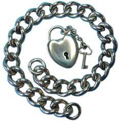 Stunning 1902 Frederick Marson Bracelet With Puffy Heart Padlock & Key Charm