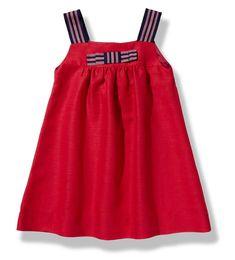 Vestido de verano para niña de lino rojo con tirantes