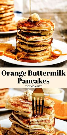 Orange Buttermilk Pancakes-light and fluffy pancakes with a hint of orange served with whipped orange honey butter make a perfect spring breakfast! PRINTABLE RECIPE at TidyMom.net Gourmet Breakfast, Delicious Breakfast Recipes, Best Breakfast, Brunch Recipes, Dessert Recipes, Pancake Recipes, Citrus Recipes, Breakfast Tray, Brunch Dishes