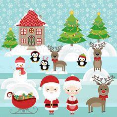 Santa Claus Clip Art  Clip Art Set  19 Printable by DIYgital