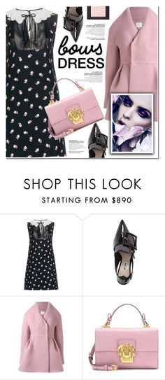 """""""bow dress"""" by nanawidia ❤ liked on Polyvore featuring Miu Miu, Delpozo, Dolce&Gabbana, bows, polyvoreeditorial and polyvorecontest"""