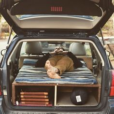 Subaru Outback sleeping platform fully converted and ready to roll! 6'3 inches head to toe and 3 more inches of width than a twin size bed! Plenty of room for 2 people, or one and a dog! Available and customizable for any hatchback or SUV. contact for details. . . . . #carcamping #subaru #subarunation #subaruoutback #homeiswhereyouparkit #camping #dirtbag #polerstuff #campvibes #livefolk #liveauthentic #oregonexplored #handmade #carporn #carpentry #woodbed #roadtrip #bestoforegon #inbend ...