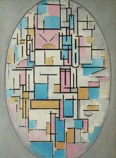 De Stijl Painting - Composition In Oval With Color Planes 1 by Piet Mondrian Piet Mondrian, Mondrian Kunst, A4 Poster, Poster Prints, Art Prints, Abstract Styles, Abstract Art, Dutch Painters, Oil Painting Reproductions