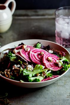 Candy-Striped beetroot salad with Maple-candied pecans and goat's cheese. #Recipe #Vegetarian