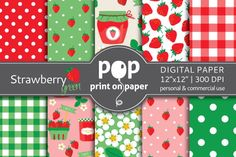 Strawberry Green Digital Paper  @Graphicsauthor