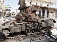 Destroyed Syrian T-55AMV.