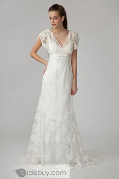 empire v-neck short sleeve floor length court lace wedding dress
