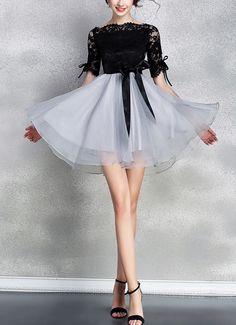 Fashion Lace Spell Seersucker Dress on Luulla