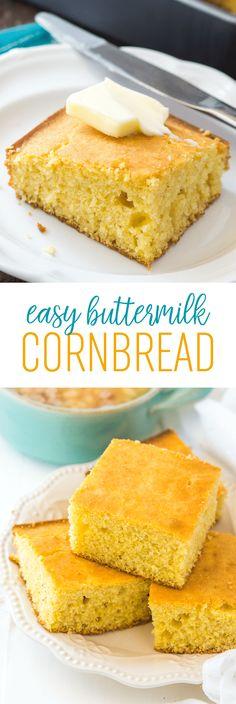 Easy Buttermilk Cornbread Recipe - This simple homemade cornbread is a winner every time!