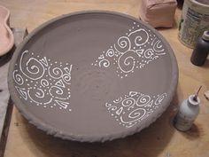 Fine Mess Pottery: Glaze Trailing, White Over Black