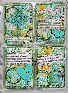 """While the description says: """"Artist's Trading Cards (ATC) by Patter  Cross using various chipboard pieces."""" I love the mixed media-ness of them for PL cards."""