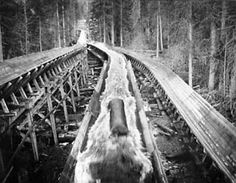 Brennan Creek Log Flume, 1918 - log rides were inspired by the flumes that conveyed logs from mountaintop sawmills to railroad depots miles away using flowing water