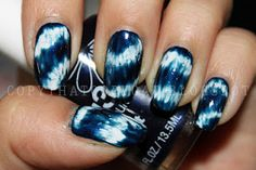 The hippie in me loves these tie dye effect nails