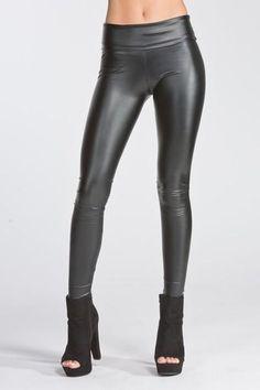 c3229616a93fb Black Faux Leather Wide Waistband Leggings