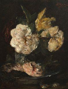 Bloemstilleven  Paneel 32 x 24,5 cm Mesdag-van Houten, Sina (Sientje)  (1834-1909)