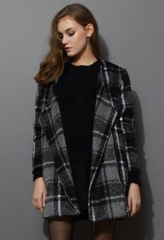 Oversize Wool Tartan Tweed Coat