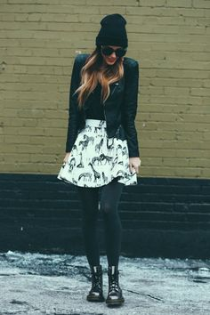Shirt: Jcrew Jacket: Nordstrom// Love THIS Skirt: ChicWish Tights: ASOS Shoes: Doc Martens Sunglasses: ChicWish Beanie: Urban Outfitters