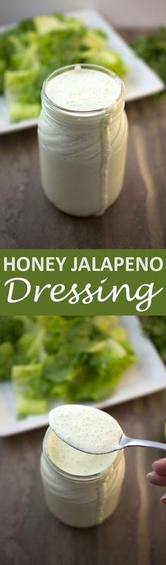 Jalapeno Salad Dressing This Honey Jalapeno Dressing is sweet, creamy, and spicy! Not to mention it can be made in less than 5 minutes!This Honey Jalapeno Dressing is sweet, creamy, and spicy! Not to mention it can be made in less than 5 minutes! Jalapeno Recipes, Honey Recipes, Sauce Recipes, Cooking Recipes, Cooking Tips, Spinach Recipes, Avocado Recipes, Salad Dressing Recipes, Salad Dressings