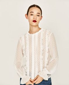 FRILLED PLUMETIS BLOUSE-Blouses-TOPS-WOMAN-SALE | ZARA United States