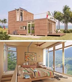 Shipping Container Homes - I LOVE the bedroom up above making the downstairs roof a porch for the bedroom and all the windows! And having stairs instead of a ladder... I just LOVE it!