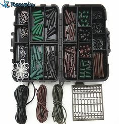 Assorted Carp Fishing Accessories Tackle Boxes for Hair Rig Combo box with Hooks,Rubber Tubes, Swivels, Beads, Sleeves,Stoppers #men, #hats, #watches, #belts, #fashion