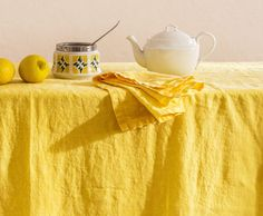 Pure linen tablecloth. GARMENT DYED. First class by vydravolkmer Textiles, Linen Tablecloth, Pure Products, Burlap Tablecloth, Cloths, Textile Art