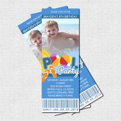 Pool Party Ticket Invitations (printable) - perfect for Summer birthday parties!