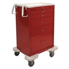 Emergency Cart, 25x32x45, Red, 5 Drawer by Lakeside. $1882.24. Emergency Cart, Load Capacity 300 lb., Dual-Wall Steel Construction, Gauge Thickness 20, Powder Coat Finish, Color Red, Overall Length 25 In., Overall Width 32 In., Overall Height 45-3/4 In., Caster Size 5 In., Caster Type 4 Swivel, 2 With Locks, Caster Material Polyurethane, Handle Twin Ergo Poly Push