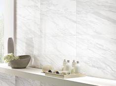 Volakas Plus Polished Porcelain Tile - 16 x 32 - 100484732 Small Bathroom Tiles, Bathtub Tile, Kitchen Wall Tiles, Bathrooms, Downstairs Bathroom, Master Bathroom, Diy Wall Decor For Bedroom, Grey Wall Decor, Bathroom Wall Decor