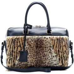 Saint Laurent Duffle 6 Leopard-Print Fur and Leather Bowling Bag (42.575 ARS) ❤ liked on Polyvore featuring bags, handbags, black, leather handbags, leopard purse, genuine leather handbags, fur handbags and bowling bag