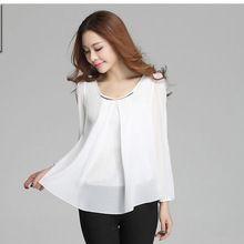 casual womens tops fashion 2014 new Autumn new women chiffon shirt blouse long sleeve ladies blouses T shirt plus size XXXL 4XL