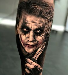 The Joker Tattoo. Tattoos 3d, Forarm Tattoos, Best Sleeve Tattoos, Body Art Tattoos, Evil Clown Tattoos, Scary Tattoos, Tattoos For Guys, Joker Card Tattoo, Batman Tattoo