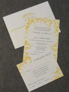 Beautiful yellow floral motif with green ink printed on crisp white card. Perfect for a garden wedding!  invitationsbymarcy.com Bar Mitzvah Invitations, Wedding Invitations, Addressing Envelopes, Bat Mitzvah, Floral Motif, Letterpress, Garden Wedding, Save The Date, Crisp