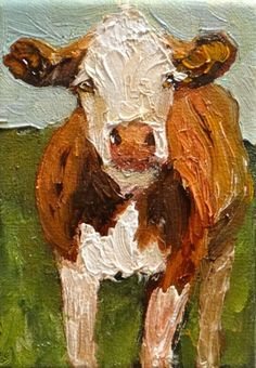 Inching Closer Cow Art Animal Painting Farm, painting by artist Norma Wilson
