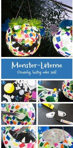 Monster Lantern - Creepy, funny or cute. When crafting monster lanterns, the imagination knows no bounds. Fireworks Craft For Kids, Happy New Year Fireworks, New Years Eve Fireworks, Fall Crafts For Kids, Crafts For Girls, Crafts To Do, Kids Crafts, Arts And Crafts, Amigurumi