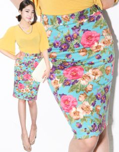 summer blooms floral printed pencil skirt  CODE: MGM503  Price: SG $61.60 (US $49.68)
