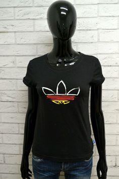 6ba1a16c28fab6 Maglia ADIDAS Donna Taglia Size S Maglietta Shirt Woman Cotone Manica Corta  Nero