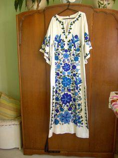 VINTAGE 1960s 1970s KAFTAN MAXI DRESS INDIE FESTIVAL HIPPY BOHO PSYCHEDELIC   £52.00 (10B)