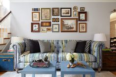 At Home with Michelle Gage - use two IKEA end tables as a coffee table