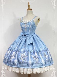 Cross JSK Bowknot Decoration On The Waist And Lace Applique Skirt Hemline - Chrono Guardian by Souffle Song