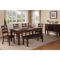 Antique Walnut Finish Dining Table + 4 Chairs + 1 Bench - Retail Price - $998.00, Our Price - $698.00