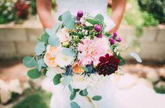 Dahlia, garden rose + eucalyptus bouquet