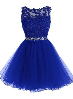 Royal Blue Keyhole Back Cocktail Dress, Party Dress With Lace Appliques Bodice
