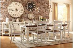 Farmhouse table -- Two-tone Marsilona Dining Room Table View 1 Ashley Furniture