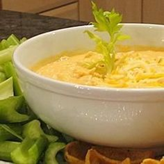 "Buffalo Chicken Dip | ""This tangy, creamy dip tastes just like Buffalo chicken wings. It's best served hot with crackers and celery sticks. Everyone loves the results!"""