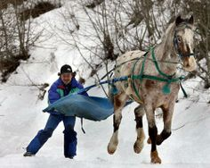 man horse skijoring.  If snowshoeing is too tame try these 12 wacky winter sports.