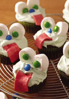"""Slime-Filled"" Monster Cupcakes -- Kids love the so-called slime! And you'll find adults aren't averse to it either--not when they realize that it's actually pudding piped into cupcakes."