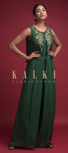 Fern Green Jumpsuit In Georgette With Attached Embroidered Layer On The Bodice Online - Kalki Fashion Dress Designs, Blouse Designs, Designer Wear, Designer Dresses, Indian Suits, Floral Motif, Fern, Salwar Kameez, Bodice